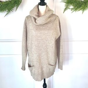 New York & Co Tan Cowl Neck Sweater L